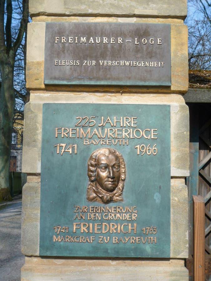Wolnomularska stróżówka Bayreuth, Eleusis zur Verschwiegenheit - zdjęcie stock