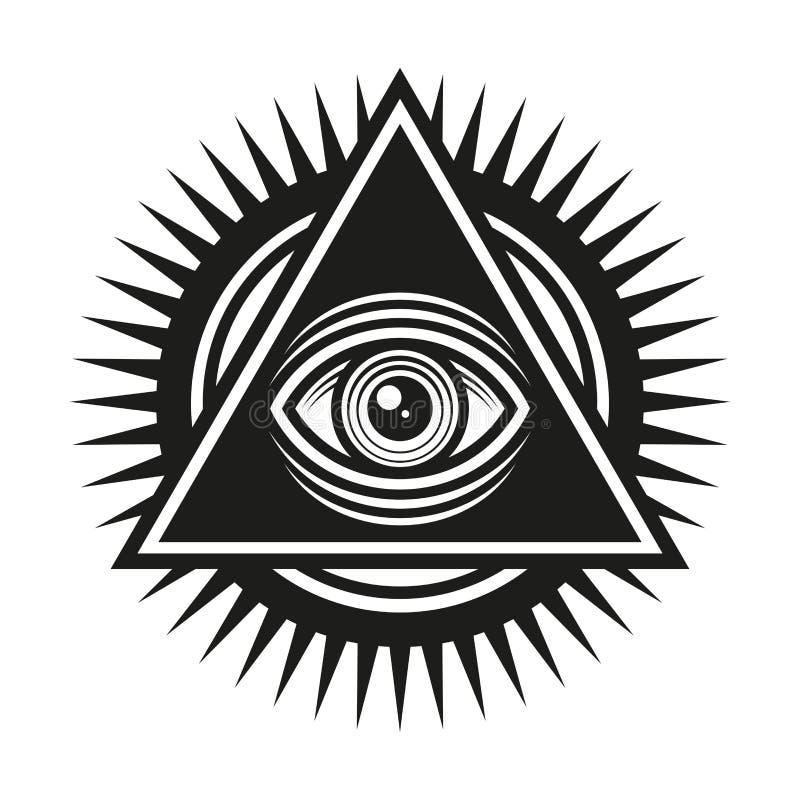 Wolnomularski symbol Wszystkie Widzii oko Wśrodku ostrosłupa trójboka ikony wektor ilustracji