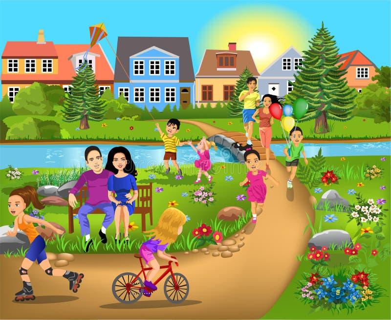 Wolny czas aktywność chodzi przez parka i ma zabawę, bieg royalty ilustracja