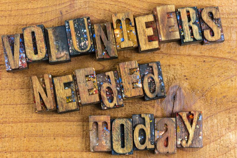 Wolontariusza today drewna potrzebny letterpress fotografia stock