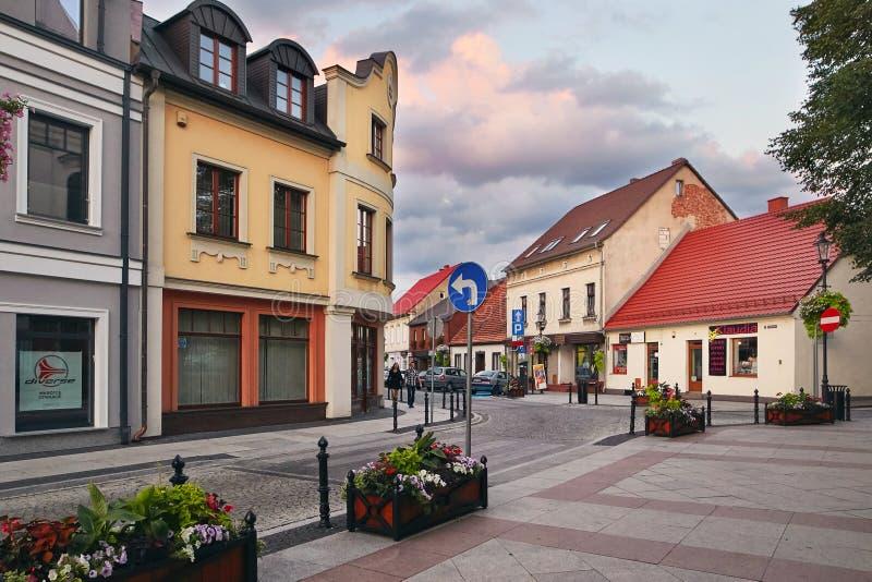 Wolsztyn, POLSKA - 27 2017 Sierpień: Budynki wzdłuż Kocielna ulicy obrazy royalty free