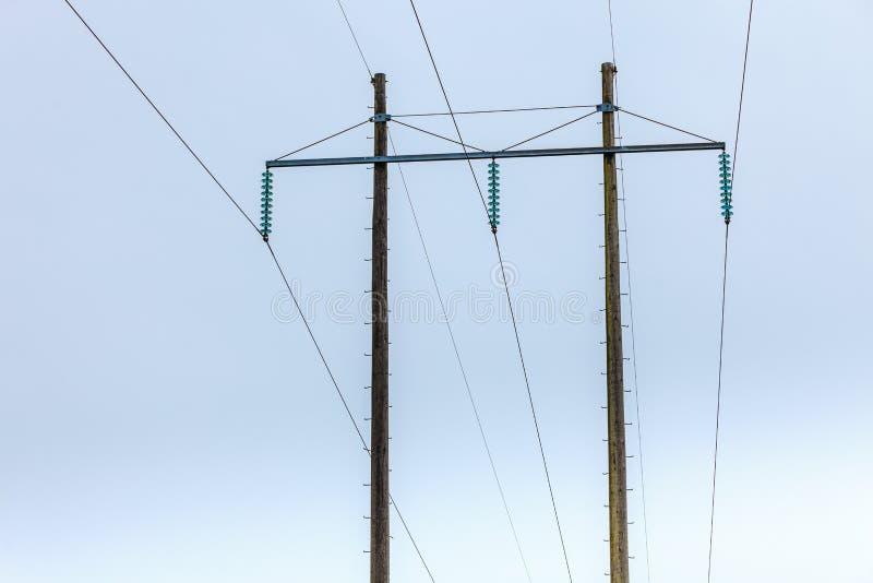 Woltaży słupy, elektryczność pilon, przekaz władzy wierza zdjęcia royalty free