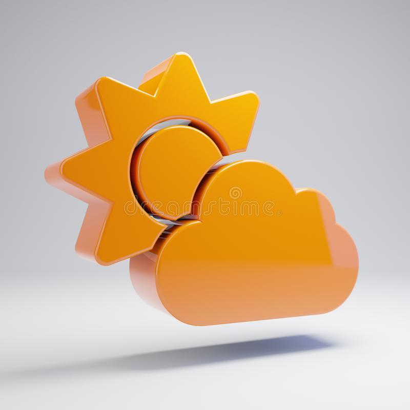 Wolumetryczna glansowana gorąca pomarańcze chmury słońca ikona odizolowywająca na białym tle ilustracja wektor