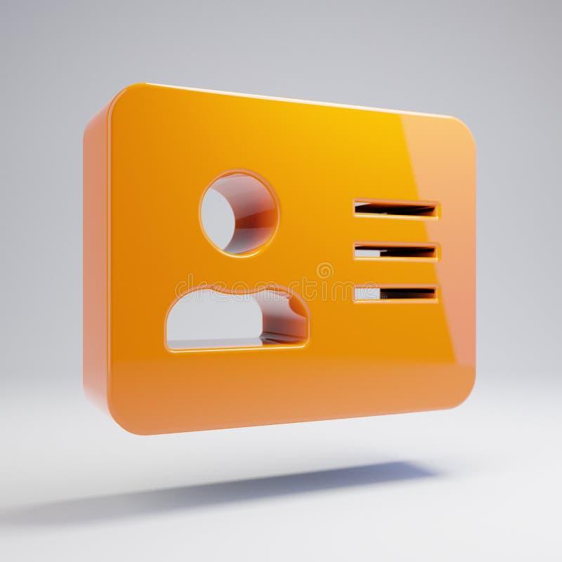 Wolumetryczna glansowana gorąca pomarańczowa adres karty ikona odizolowywająca na białym tle ilustracji