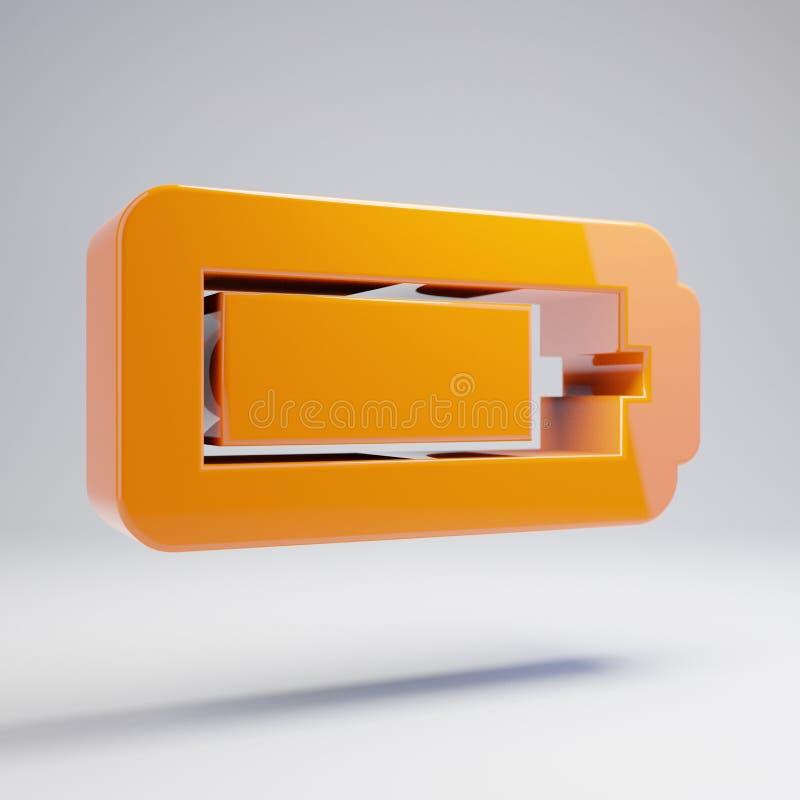 Wolumetryczna glansowana gorąca pomarańczowa baterii Trzy Czwarte ikona odizolowywająca na białym tle royalty ilustracja