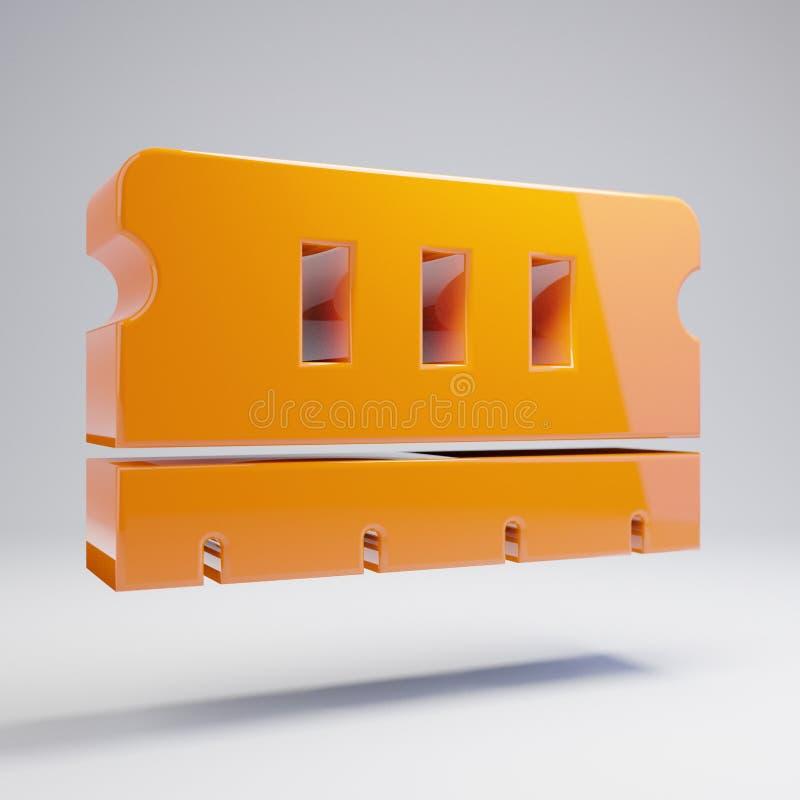 Wolumetryczna glansowana gorąca pomarańczowa pamięci ikona odizolowywająca na białym tle ilustracja wektor