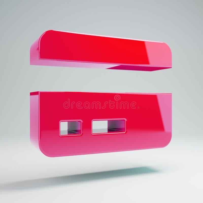 Wolumetryczna glansowana gorących menchii karty kredytowej ikona odizolowywająca na białym tle ilustracji