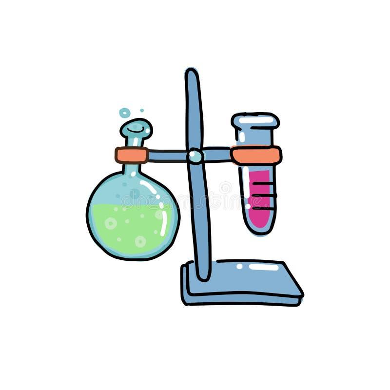 Wolumetryczna kolba Lab kolby łączyć z próbnej tubki ilustracją Dno kolba Ręka rysujący doodle konturu kolor ilustracja wektor