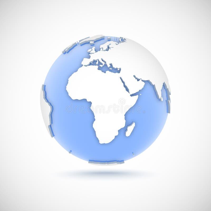 Wolumetryczna kula ziemska w białych i błękita kolorach 3d wektorowa ilustracja z kontynentami Afryka, Europa, Azja ilustracja wektor