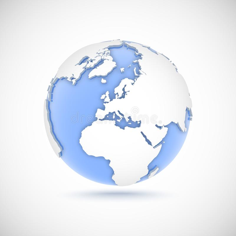 Wolumetryczna kula ziemska w białych i błękita kolorach 3d wektorowa ilustracja z kontynentami Ameryka, Europa, Afryka, Azja ilustracja wektor