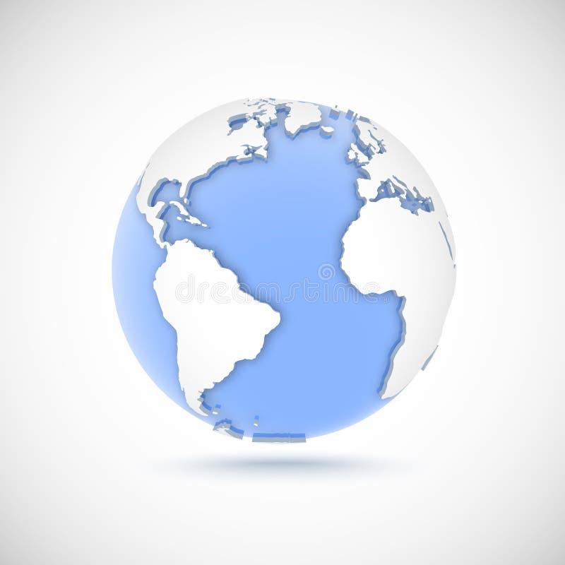 Wolumetryczna kula ziemska w białych i błękita kolorach 3d wektorowa ilustracja z kontynentami Ameryka, Europa, Afryka ilustracja wektor