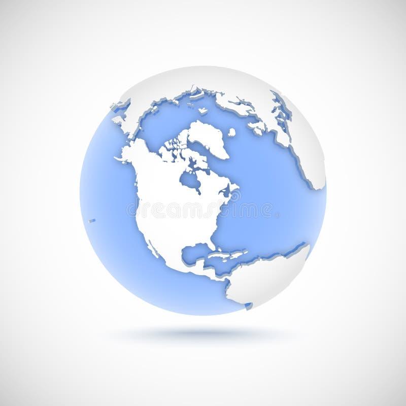 Wolumetryczna kula ziemska w białych i błękita kolorach 3d wektorowa ilustracja z kontynentami Ameryka, Północna Ameryka ilustracji