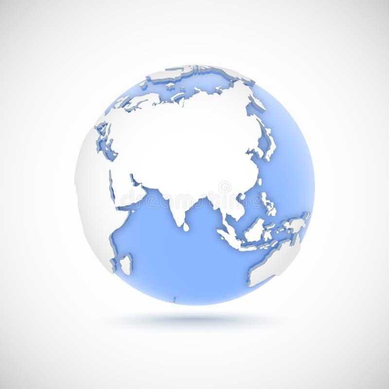 Wolumetryczna kula ziemska w białych i błękita kolorach 3d wektorowa ilustracja z kontynentami Eurasia, Europa, Afryka, Azja, Aus ilustracja wektor