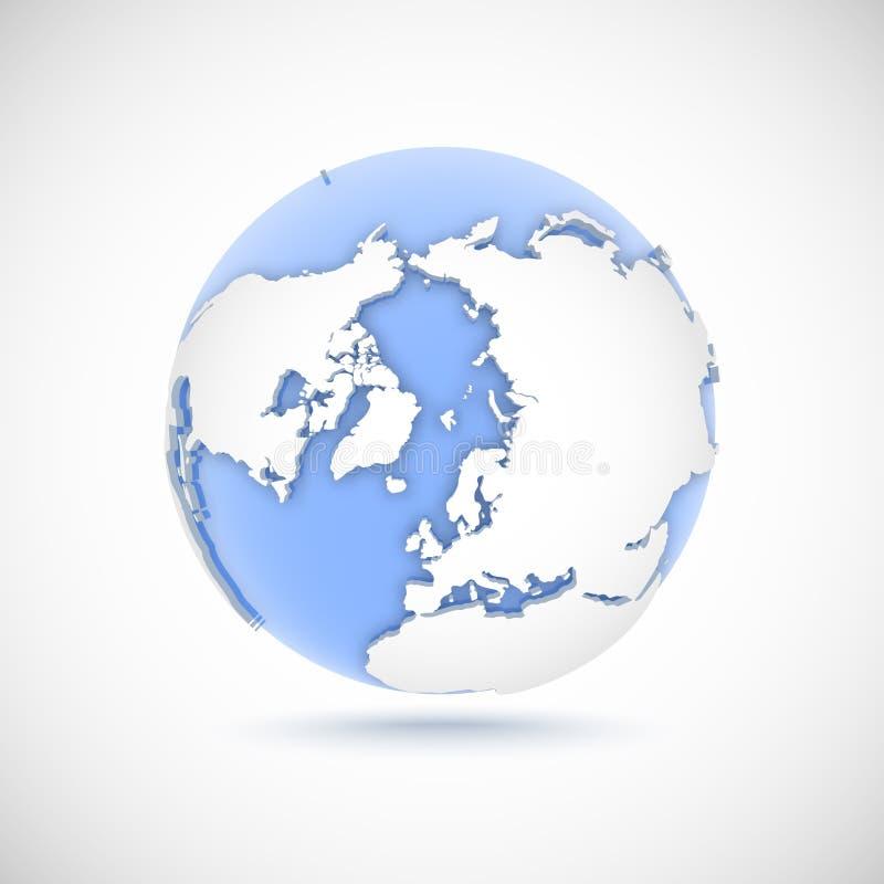 Wolumetryczna kula ziemska w białych i błękita kolorach 3d wektorowy ilustracyjny biegun północny royalty ilustracja