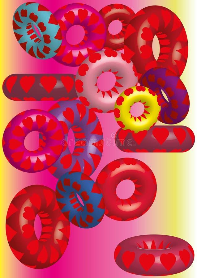 Wolumetryczni barwioni okręgi, tekstura serca ilustracja wektor