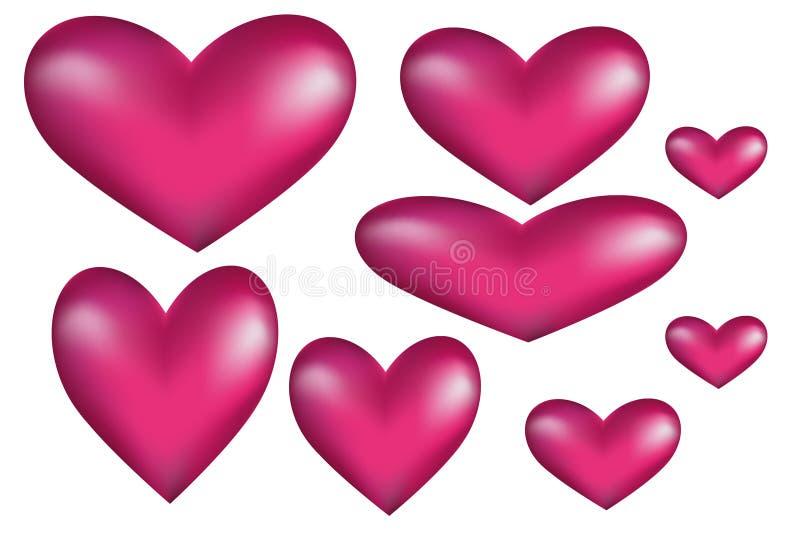 Wolumetryczni serca z nastawczym kształtem zdjęcie stock