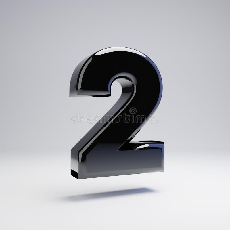 Wolumetryczny glansowany czerń liczba 2 odizolowywająca na białym tle ilustracji