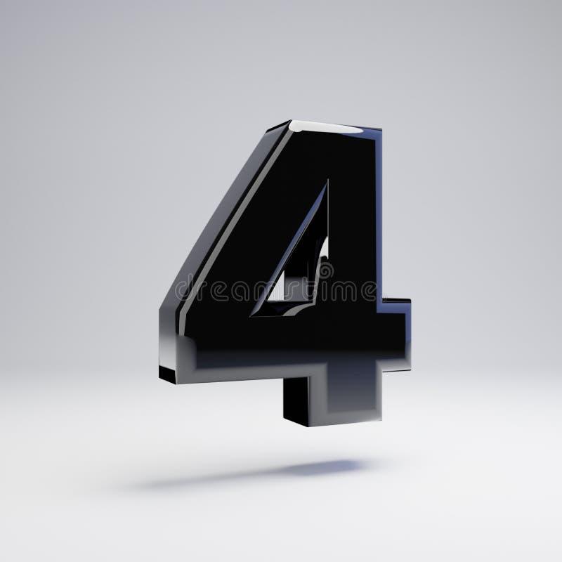 Wolumetryczny glansowany czerń liczba 4 odizolowywająca na białym tle ilustracja wektor