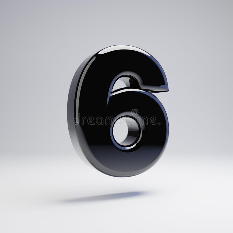 Wolumetryczny glansowany czerń liczba 6 odizolowywająca na białym tle ilustracja wektor