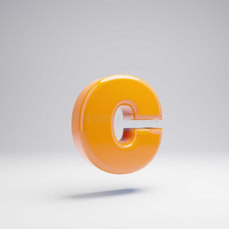 Wolumetryczny glansowany gorący pomarańczowy lowercase list C odizolowywający na białym tle ilustracji