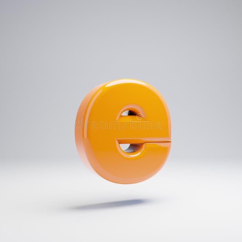 Wolumetryczny glansowany gorący pomarańczowy lowercase list E odizolowywający na białym tle ilustracja wektor
