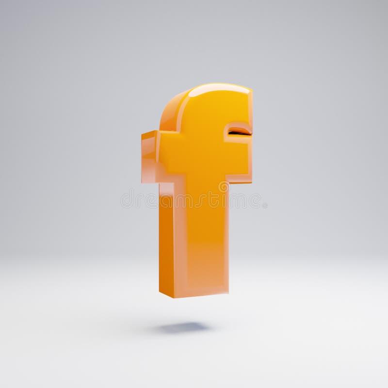 Wolumetryczny glansowany gorący pomarańczowy lowercase list F odizolowywający na białym tle ilustracji