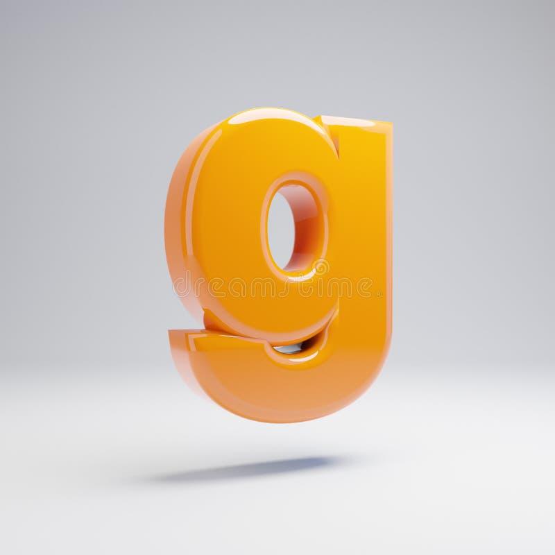 Wolumetryczny glansowany gorący pomarańczowy lowercase list G odizolowywający na białym tle royalty ilustracja