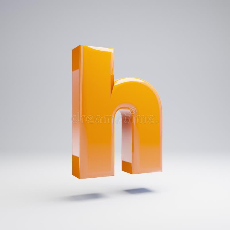 Wolumetryczny glansowany gorący pomarańczowy lowercase list H odizolowywający na białym tle ilustracji