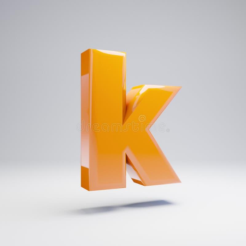 Wolumetryczny glansowany gorący pomarańczowy lowercase list K odizolowywający na białym tle ilustracji