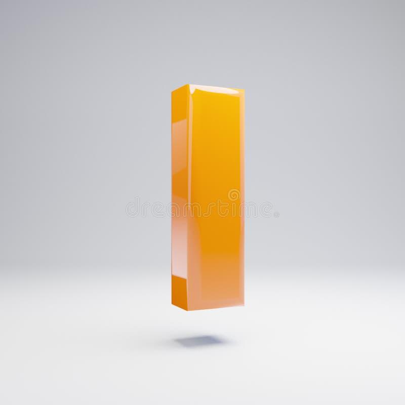 Wolumetryczny glansowany gorący pomarańczowy lowercase list L odizolowywający na białym tle ilustracji