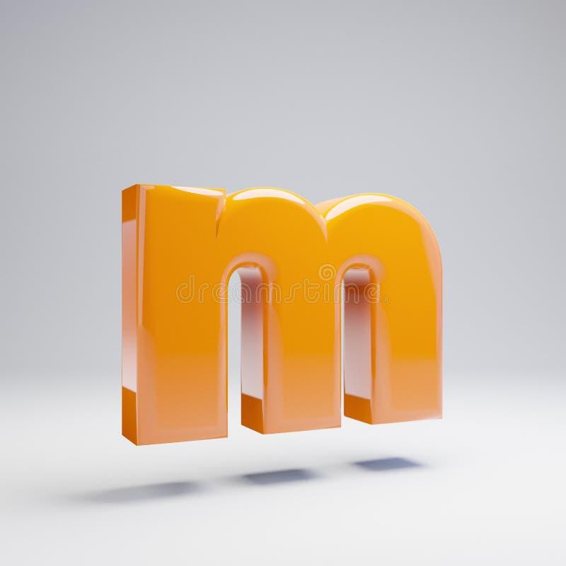 Wolumetryczny glansowany gorący pomarańczowy lowercase list M odizolowywający na białym tle ilustracja wektor