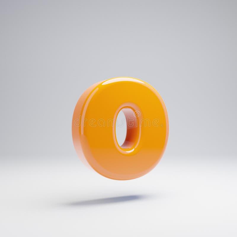 Wolumetryczny glansowany gorący pomarańczowy lowercase list O odizolowywający na białym tle royalty ilustracja