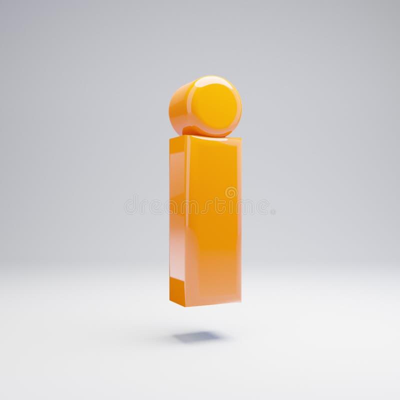 Wolumetryczny glansowany gorący pomarańczowy lowercase list odizolowywałem na białym tle ilustracji