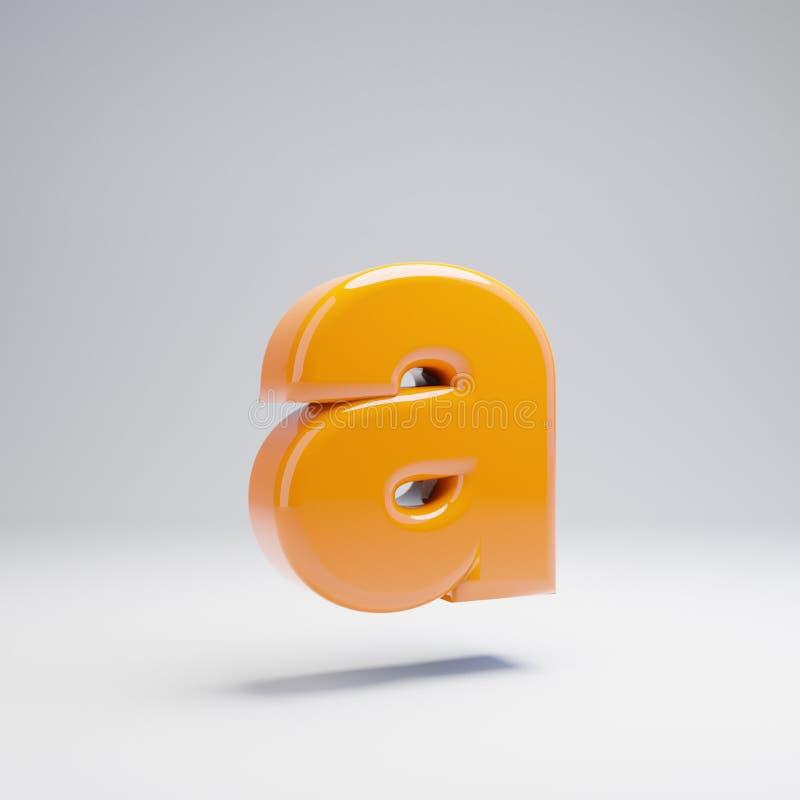Wolumetryczny glansowany gorący pomarańczowy lowercase list A odizolowywający na białym tle royalty ilustracja