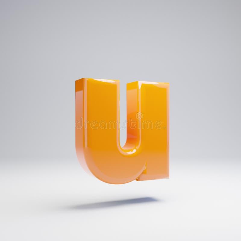 Wolumetryczny glansowany gorący pomarańczowy lowercase list U odizolowywający na białym tle royalty ilustracja