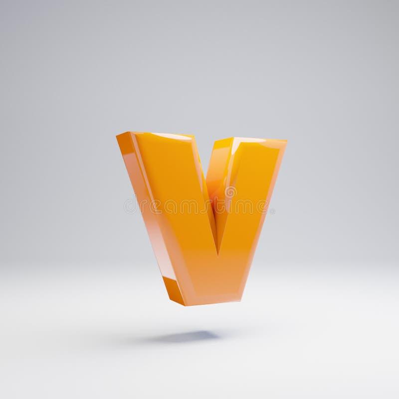 Wolumetryczny glansowany gorący pomarańczowy lowercase list V odizolowywający na białym tle royalty ilustracja