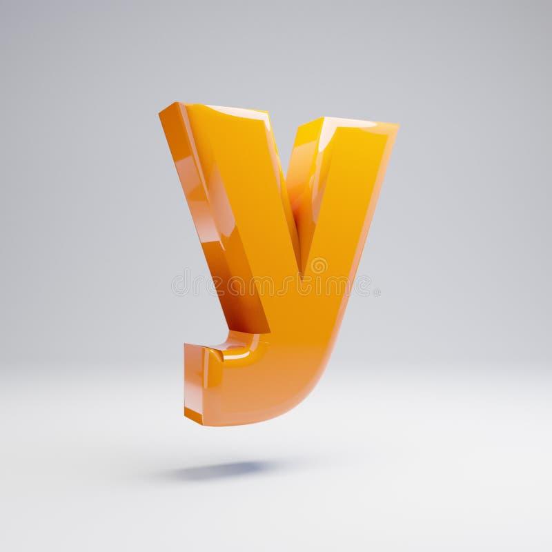 Wolumetryczny glansowany gorący pomarańczowy lowercase list Y odizolowywający na białym tle ilustracja wektor