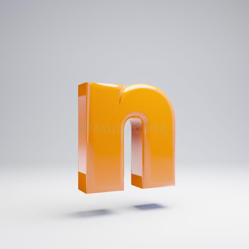 Wolumetryczny glansowany gorący pomarańczowy lowercase listowy N odizolowywający na białym tle ilustracja wektor