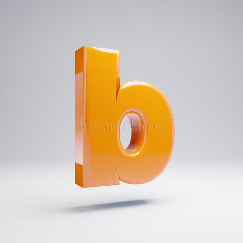 Wolumetryczny glansowany gorący pomarańczowy lowercase listu b odizolowywający na białym tle royalty ilustracja