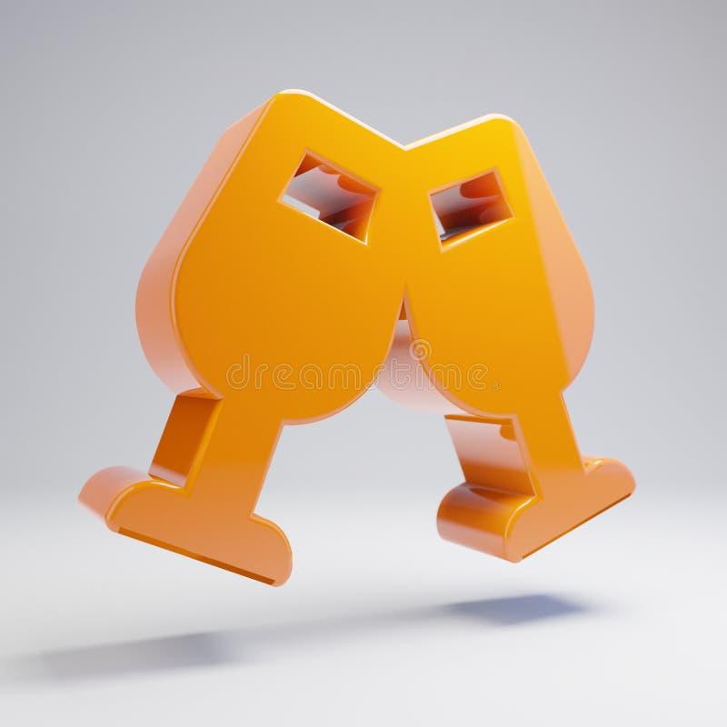 Wolumetryczny glansowany gorący pomarańczowy szkło Rozwesela ikonę odizolowywającą na białym tle ilustracja wektor