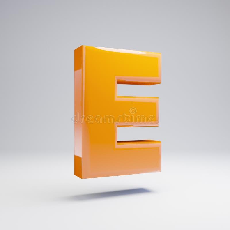 Wolumetryczny glansowany gorący pomarańczowy uppercase list E odizolowywający na białym tle royalty ilustracja