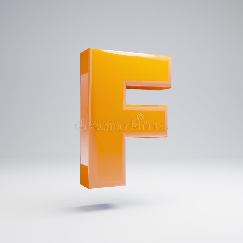 Wolumetryczny glansowany gorący pomarańczowy uppercase list F odizolowywający na białym tle ilustracja wektor