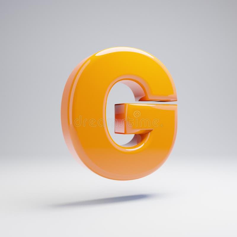 Wolumetryczny glansowany gorący pomarańczowy uppercase list G odizolowywający na białym tle ilustracja wektor