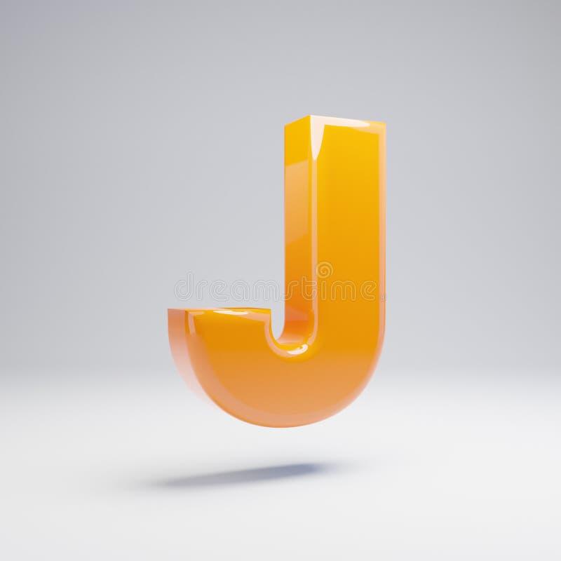 Wolumetryczny glansowany gorący pomarańczowy uppercase list J odizolowywający na białym tle ilustracja wektor