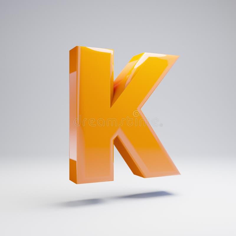 Wolumetryczny glansowany gorący pomarańczowy uppercase list K odizolowywający na białym tle royalty ilustracja