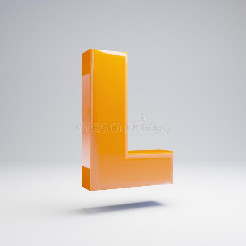 Wolumetryczny glansowany gorący pomarańczowy uppercase list L odizolowywający na białym tle royalty ilustracja
