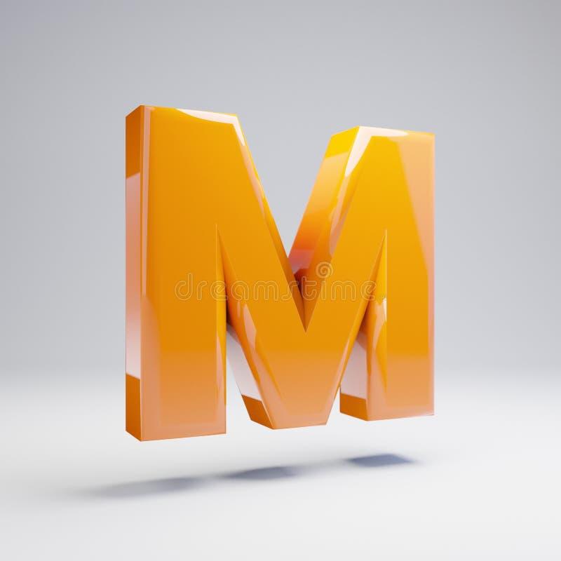 Wolumetryczny glansowany gorący pomarańczowy uppercase list M odizolowywający na białym tle ilustracji