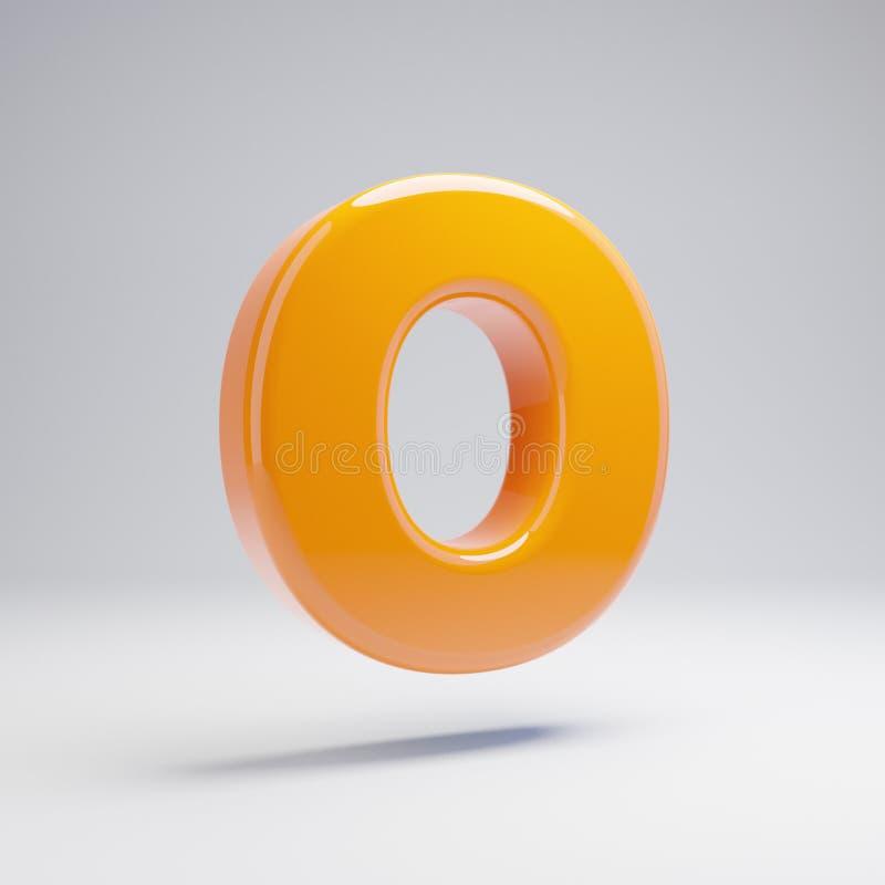 Wolumetryczny glansowany gorący pomarańczowy uppercase list O odizolowywający na białym tle royalty ilustracja