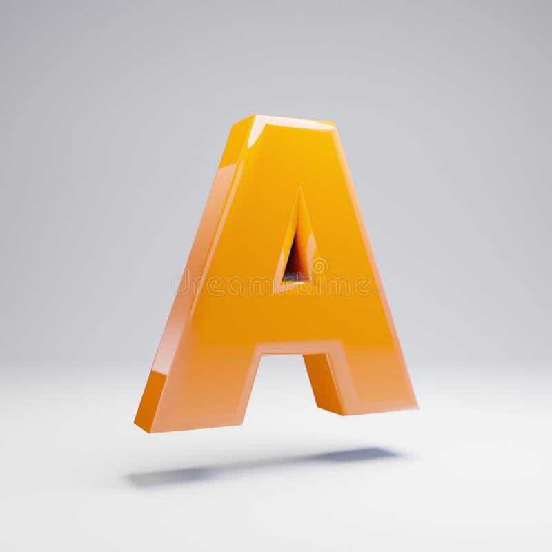Wolumetryczny glansowany gorący pomarańczowy uppercase list A odizolowywający na białym tle ilustracji