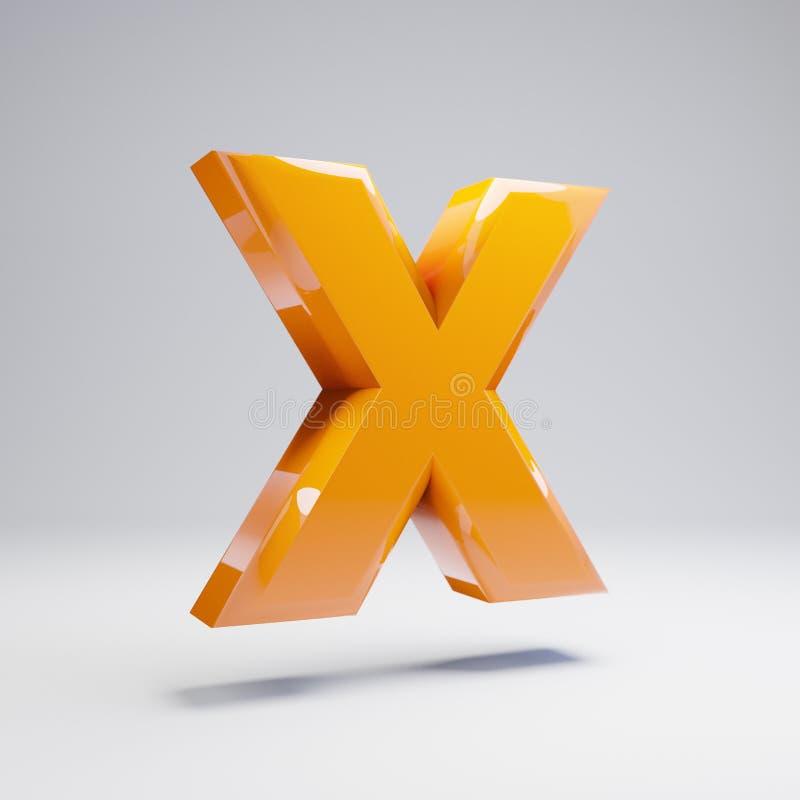 Wolumetryczny glansowany gorący pomarańczowy uppercase list X odizolowywający na białym tle ilustracja wektor
